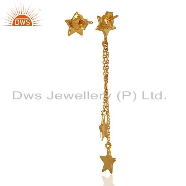 Suppliers White Topaz Gemstone 925 Silver Gold Plated Star Chain Earrings