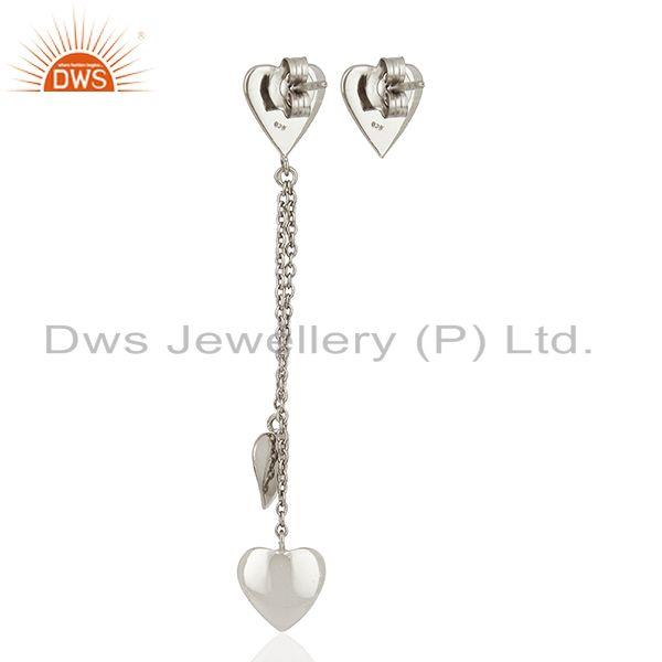Suppliers Heart Design Fine Sterling Silver Chain Earring Manufacturer Wholesale