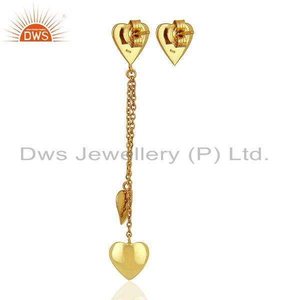 Suppliers Heart Design Gold Plated Sterling Silver Chain Earring Manufacturer