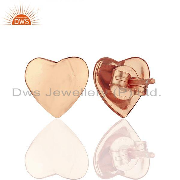 Suppliers Rose Gold Plated 925 Sterling Plain Silver Heart Stud Earring Supplier
