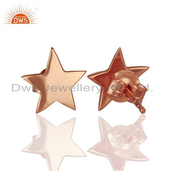 Suppliers 14k Rose Gold Plated Star Charm Sterling Silver Stud Earring Supplier