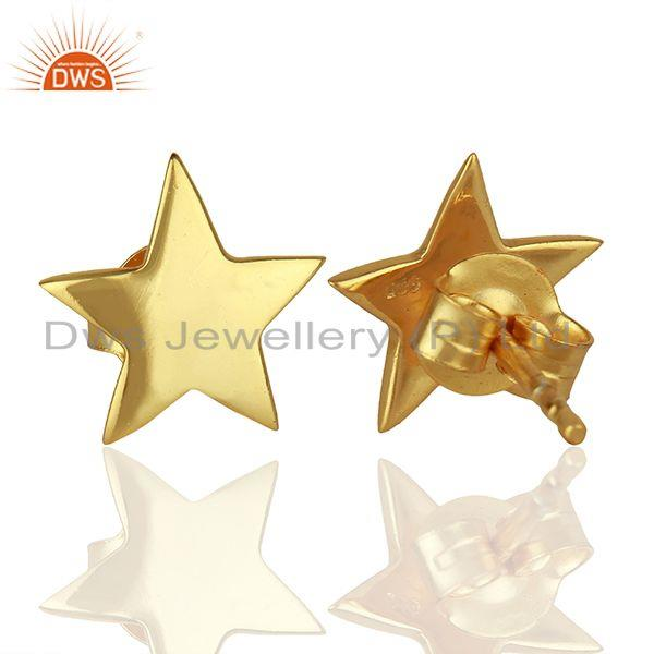 Suppliers Handmade Gold Plated Sterling Silver Star Charm Stud Earrings Supplier
