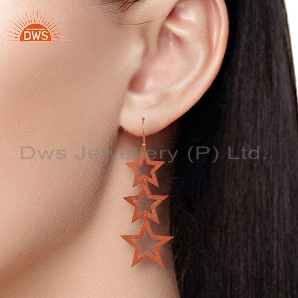 Suppliers Rose Gold Plated Star Charm Sterling Plain Silver Earrings Wholesaler