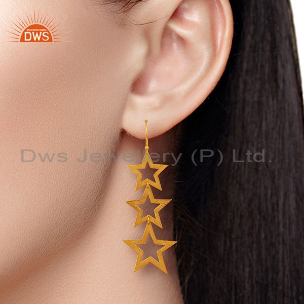 Suppliers Designer Star Gold Plated Sterling Silver Dangle Earrings Manufacturer