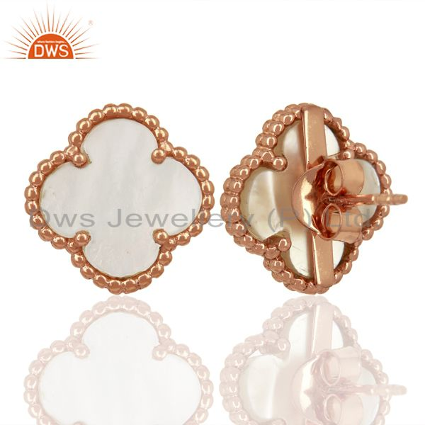 Suppliers Mother Of Pearl Clover The Magic Motif Sterling Silver Rose Gold Plated Earrings
