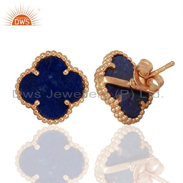 Suppliers Lapis Lazuli Clover The Magic Motif Sterling Silver Rose Gold Plated Earrings
