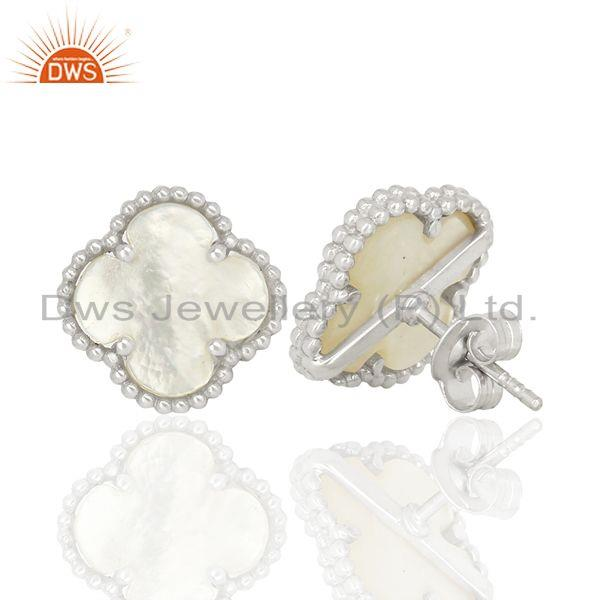 Suppliers Mother Of Pearl Clover Magic Motif Sterling Silve White Rhodium Plated Earring