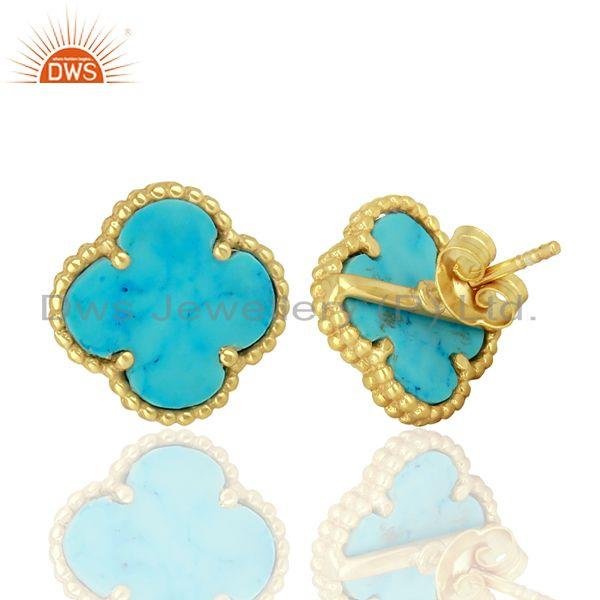 Suppliers Turquois Clover The Magic Motif Sterling Silver 14K Gold Plated Earrings