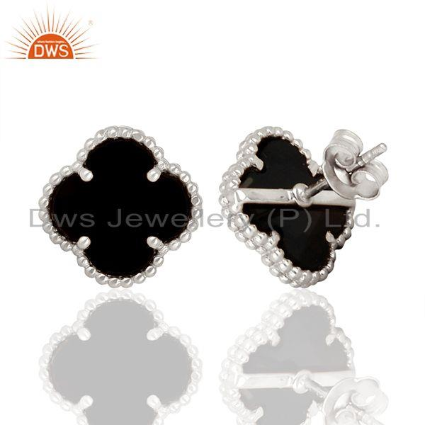 Suppliers Black Onyx Clover The Magic Motif Sterling Silver White Rhodium Plated Earrings