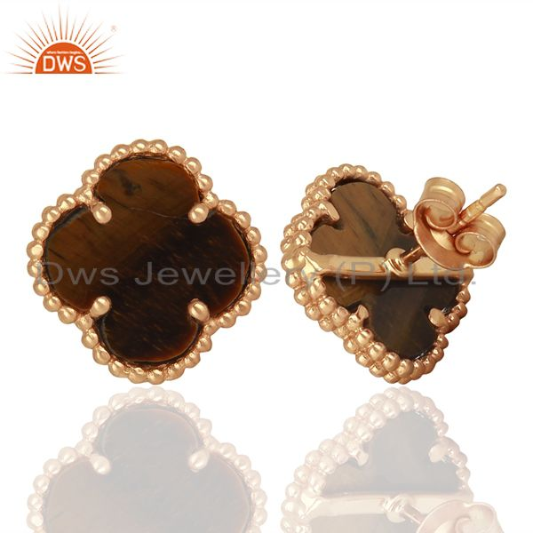 Suppliers Tiger Eye Clover The Magic Motif Sterling Silver Rose Gold Plated Earrings