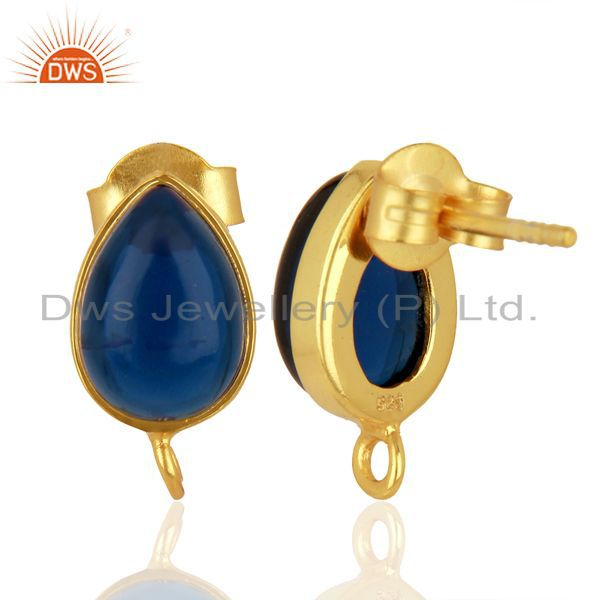 Suppliers Blue Corundum Studs 18K Gold Plated 925 Sterling Silver Jewelry Finding  Jewelry