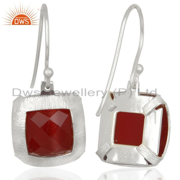 Suppliers Handmade 925 Sterling Silver Natural red Onyx Gemstone Earrings