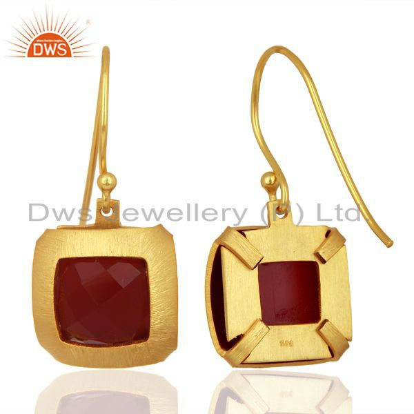 Suppliers Natural Red Onyx Gemstone Designer Gold Plated Silver Earring