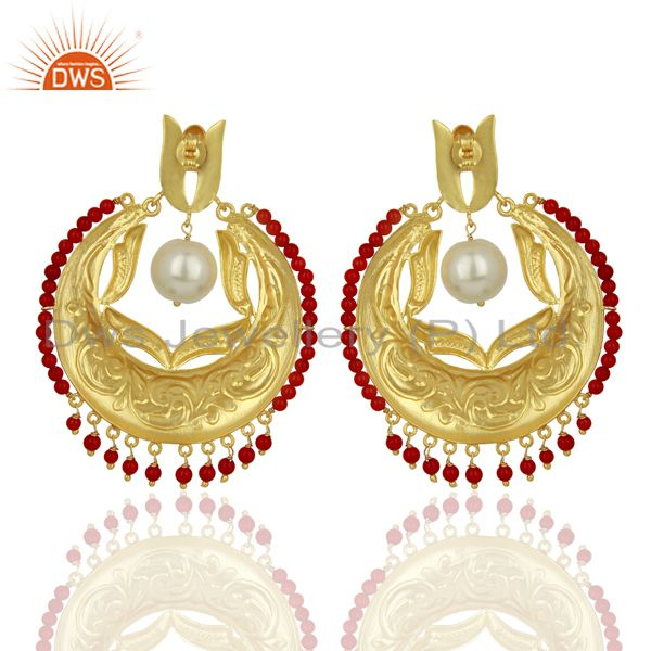 Suppliers CZ Coral Gemstone Gold Plated Silver Chand Bali Traditional Earrings