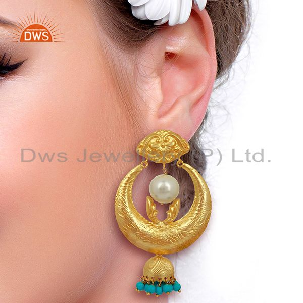 Suppliers Gold Plated Silver Turquoise Gemstone Chand Bali Earrings Supplier