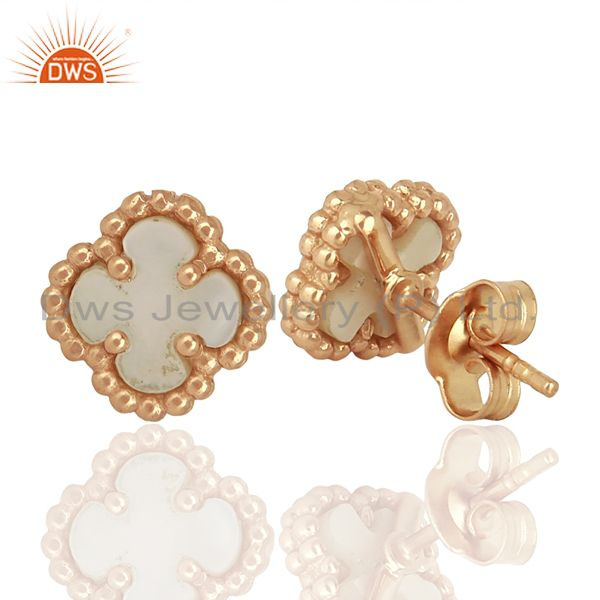 Suppliers Mother Of Pearl The Magic Mini Motif Sterling Silver Rose Gold Plated Studs