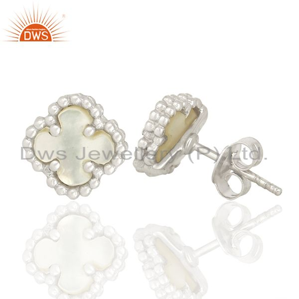 Suppliers Mother Of Pearl Clover The Magic Mini Motif 925 Sterling Silver Studs Earrings