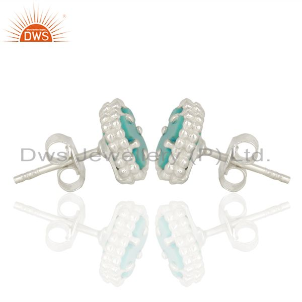 Suppliers Turquoise Clover The Magic Mini Motif 925 Sterling Silver Studs Earrings Jewelry