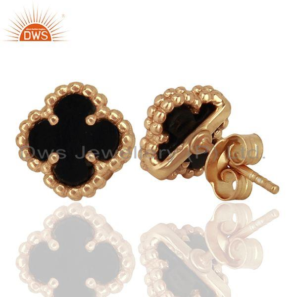 Suppliers Black Onyx Clover The Magic Mini Motif Sterling Silver Rose Gold Plated Studs