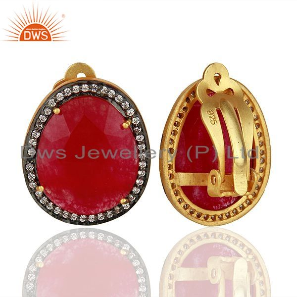 Suppliers Zircon and red Aventurine Gemstone Stud Earrings Jewelry Supplier