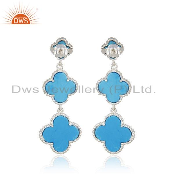 Suppliers Natural Turquoise Gemstone Sterling Fine Silver Clover Earring Jewelry