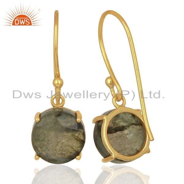Suppliers Labradorite Flat Shape Pefect Drop 14K Gold Plated Wholesale 92.5 Silver Earring