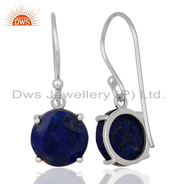 Suppliers Lapis Flat Shape Pefect Drop High Finish Wholesale Sterling Silver Earrings
