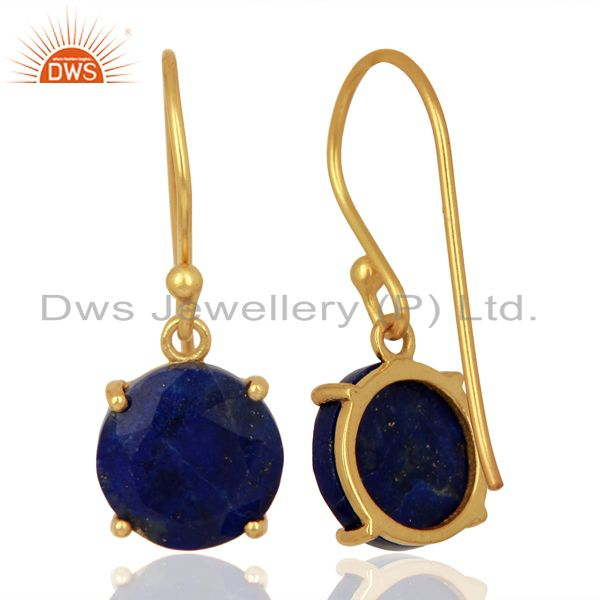 Suppliers Lapis Flat Shape Pefect Drop 14K Gold Plated Wholesale 92.5 Silver Earring