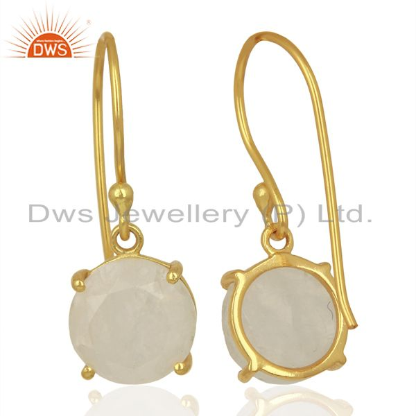 Suppliers Moonstone Flat Shape Pefect Drop 14K Gold Plated Wholesale Silver Earring