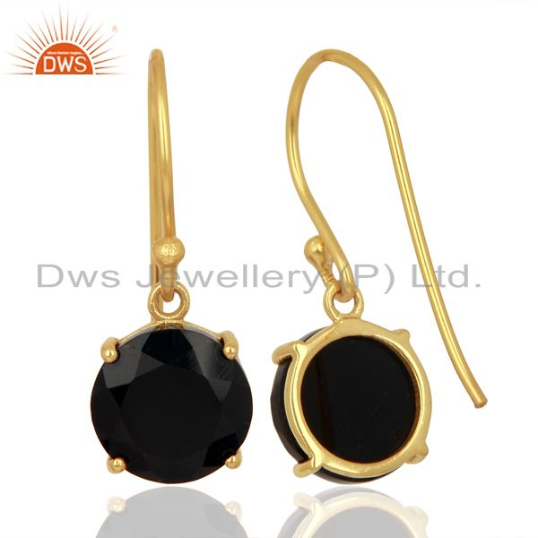 Suppliers Black Onyx Flat Shape Pefect Drop 14K Gold Plated Wholesale 92.5 Silver Earring