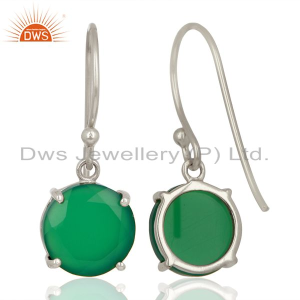 Suppliers Green Onyx Flat Shape Pefect Drop High Finish Wholesale Sterling Silver Earrings