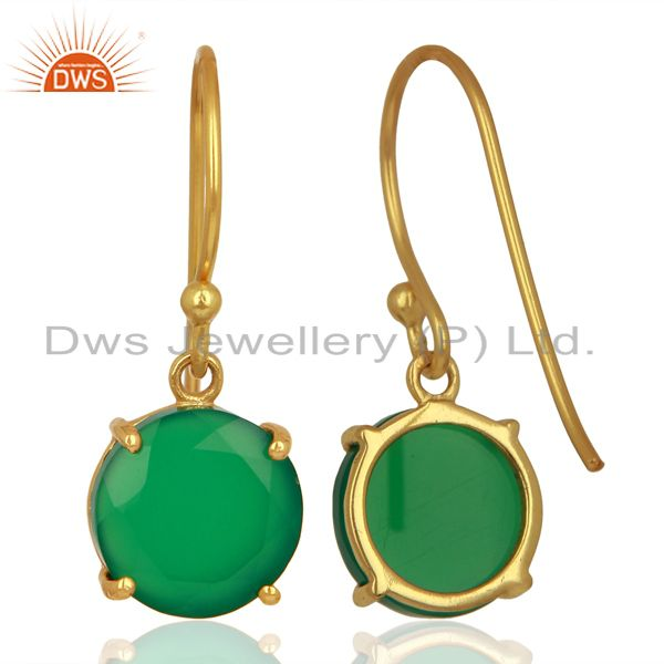 Suppliers Green Onyx Flat Shape Pefect Drop 14K Gold Plated Wholesale 92.5 Silver Earring