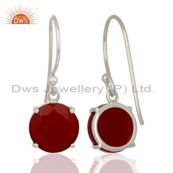 Suppliers Red Onyx Flat Shape Pefect Drop High Finish Wholesale Sterling Silver Earrings