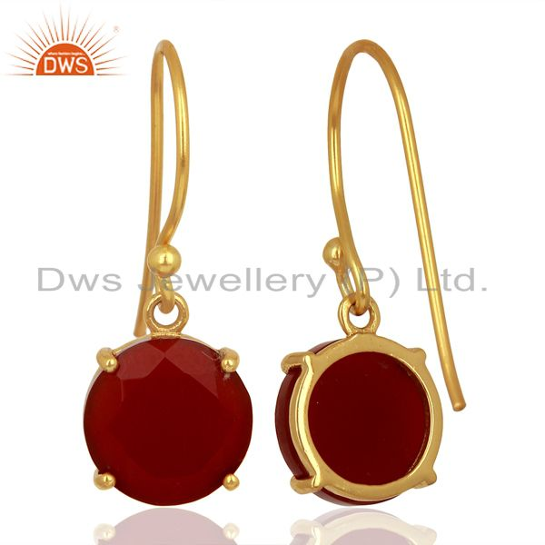 Suppliers Red Onyx Flat Shape Pefect Drop 14K Gold Plated Wholesale 92.5 Silver Earring