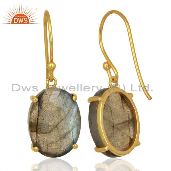 Suppliers Labradorite Flat Shape Pefect Oval Drop 14K Gold Plated Wholesale Silver Earring