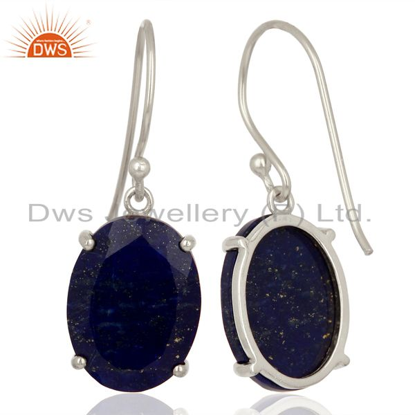Suppliers Lapis Flat Shape Pefect Oval Drop Wholesale 92.5 Sterling Silver Earring