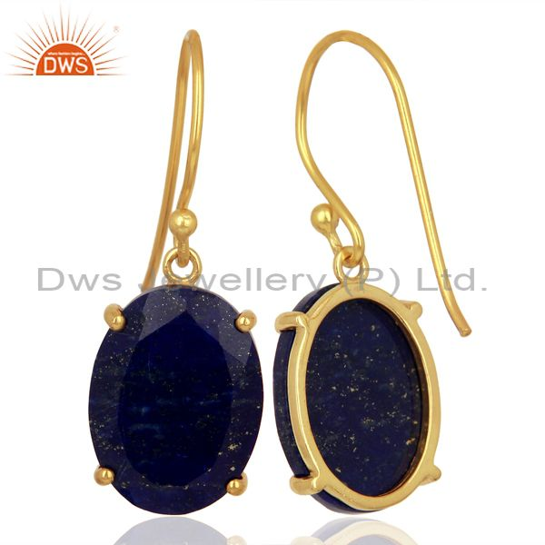 Suppliers Lapis Flat Shape Pefect Oval Drop 14K Gold Plated Wholesale Silver Earring