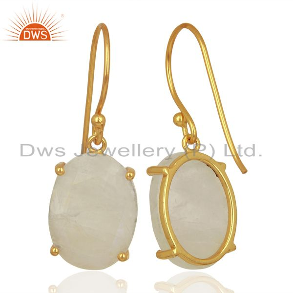 Suppliers Moonstone Flat Shape Pefect Oval Drop 14K Gold Plated Wholesale Silver Earring