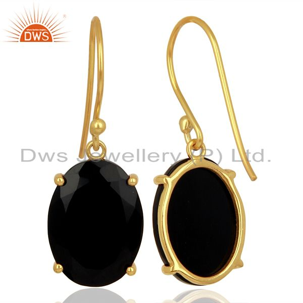 Suppliers Black Onyx Flat Shape Pefect Oval Drop 14K Gold Plated Wholesale Silver Earring