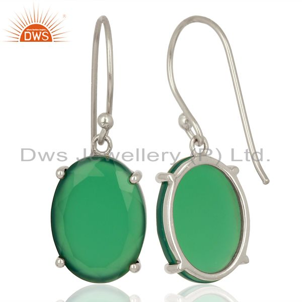 Suppliers Green Onyx Flat Shape Pefect Oval Drop Wholesale 92.5 Sterling Silver Earring