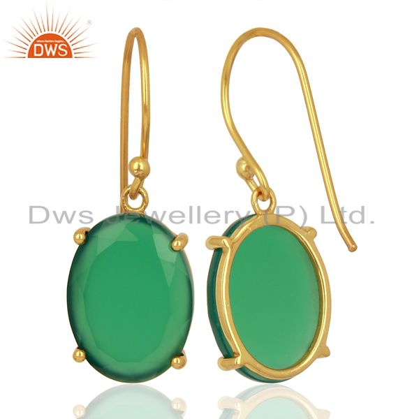 Suppliers Green Onyx Flat Shape Pefect Oval Drop 14K Gold Plated Wholesale Silver Earring