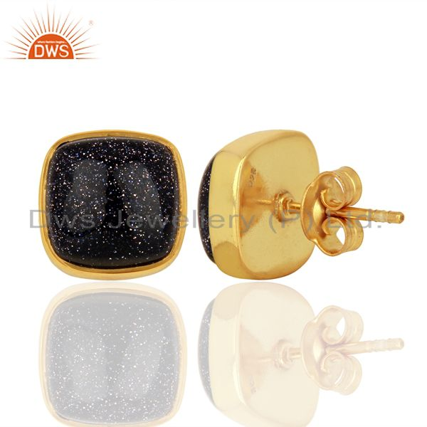 Suppliers Sun Stone Blue Cushion Bezel Set Sterling Silver 14K Gold Plated Stud Earrings