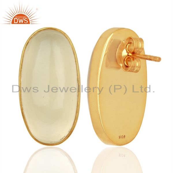 Suppliers White Chalcedony Oval Bezel Set 925 Sterling Silver 14K Gold Plated Stud Earring