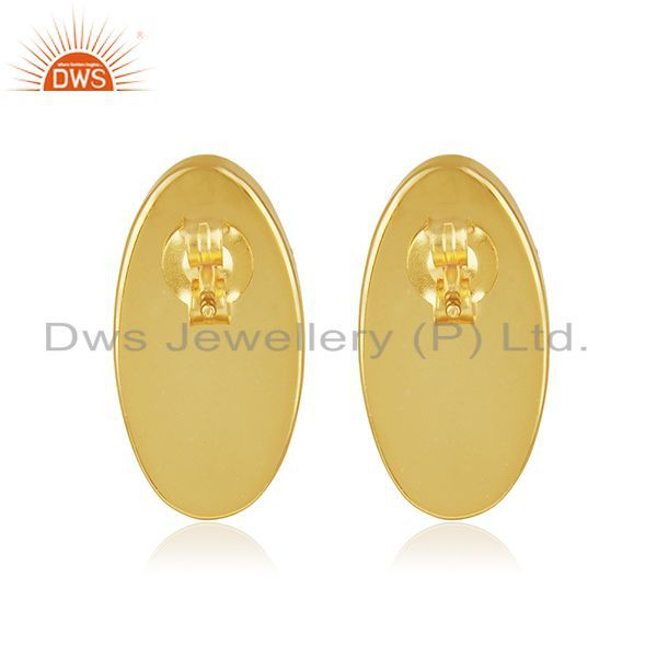 Suppliers Red Onyx Gemstone 925 Silver Gold Plated Stud Earring Manufacturer