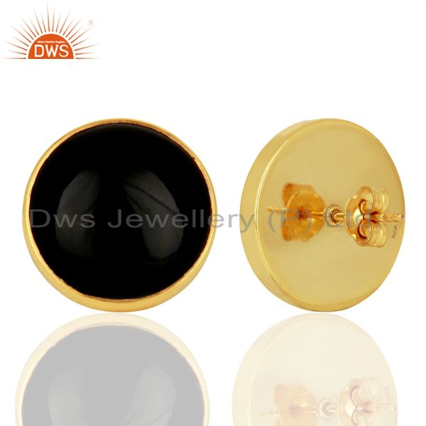 Suppliers Black Onyx Round  Bezel Set 925 Sterling Silver 14K Gold Plated Stud Earring