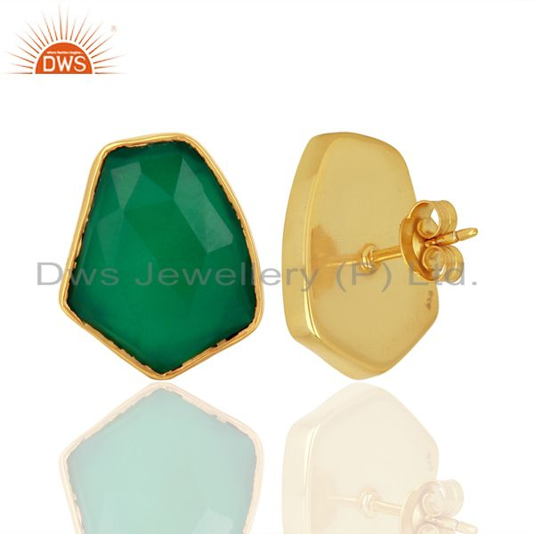 Suppliers Green Onyx Unshape Bezel Set 925 Sterling Silver 14K Gold Plated Stud Earrings