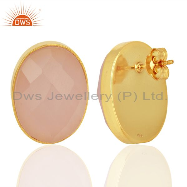 Suppliers Rose Chalcedony Faceted Oval  Bezel Set Sterling Silver Gemstone Stud Earrings