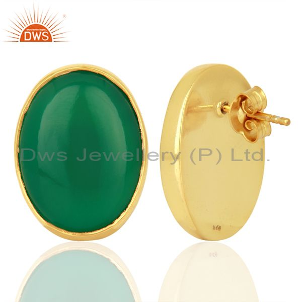 Suppliers Green Onyx Oval  Bezel Set Sterling Silver Gemstone Jewellery Stud Earrings