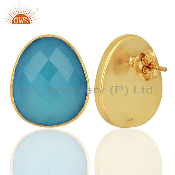 Suppliers Blue Chalcedony Gemstone Faceted Egg Shape Bezel Set 925 Sterling Silver Studs