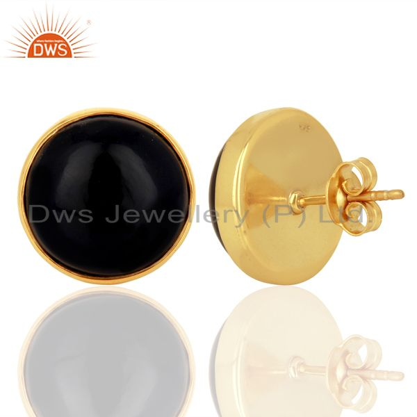 Suppliers Sun Stone Blue Round  Bezel Set Sterling Silver 18K Gold Plated Stud Earrings